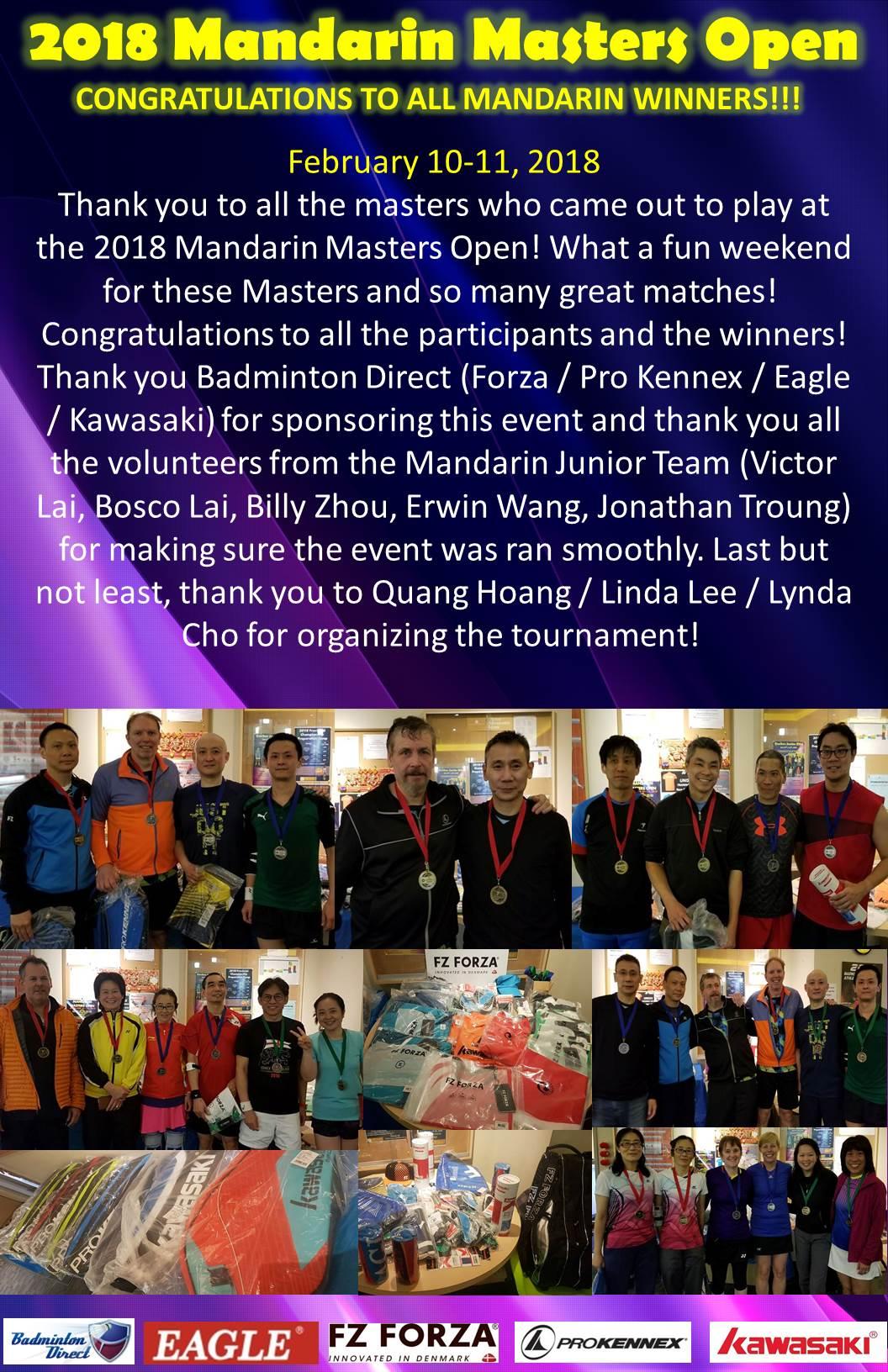 2018 Mandarin Masters Open Winners