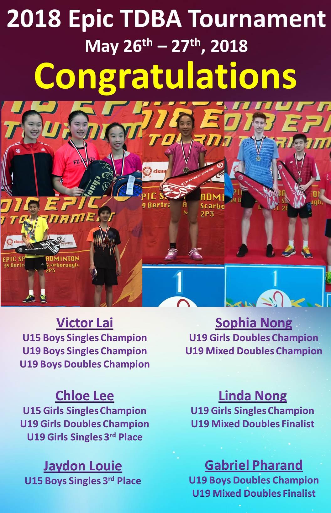 Epic TDBA Tournament May 26-27, 2018 (players)