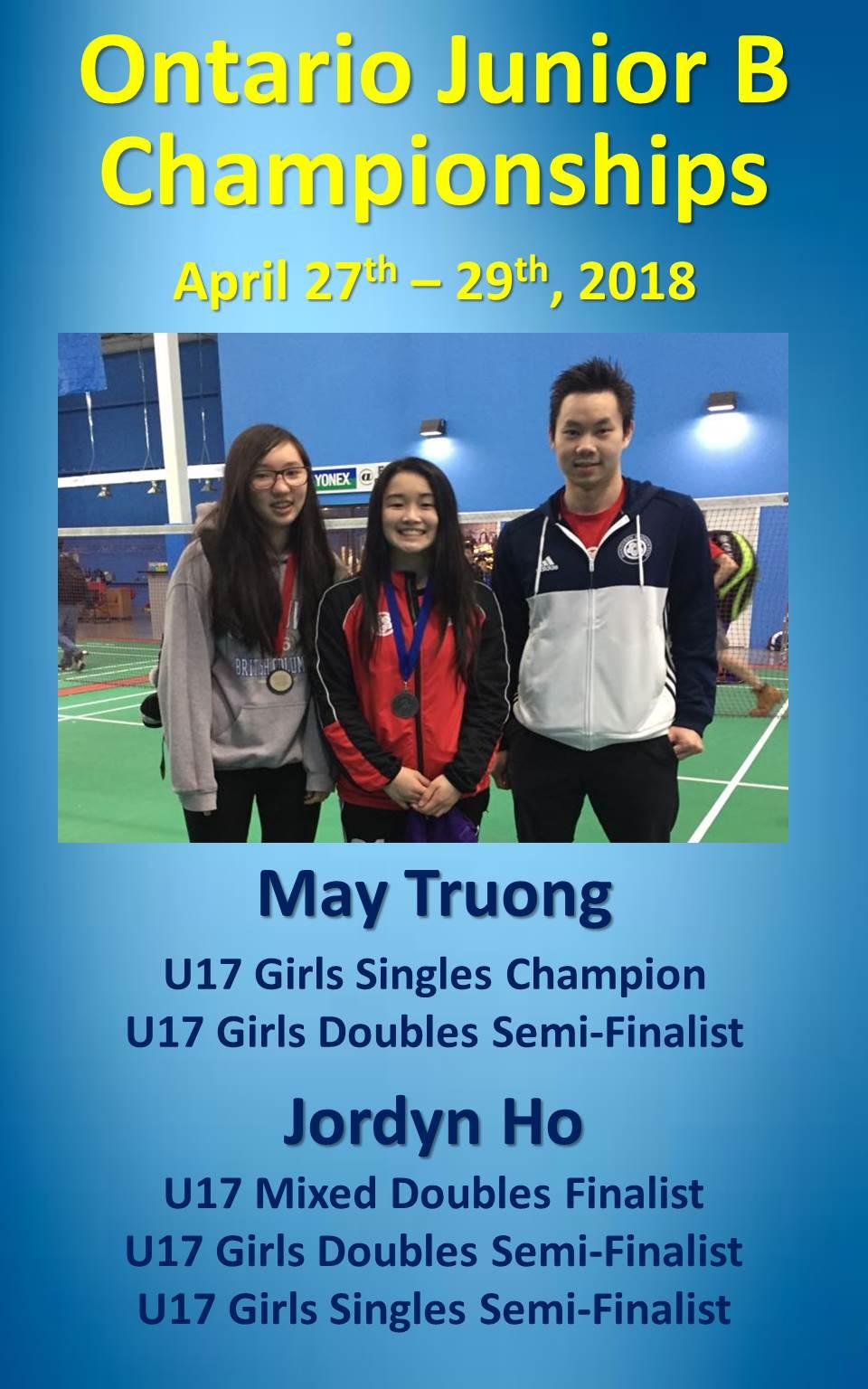 Jr B Championships April 27-29, 2018
