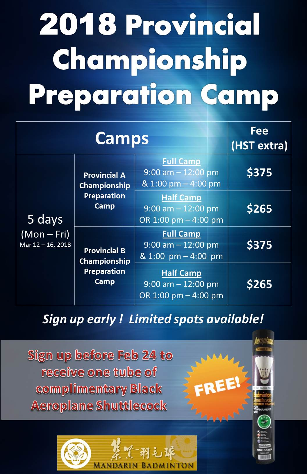 2018 Provincial Championship Preparation Camp updated Feb 6